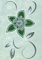 Декор Цветы 2 зеленый 250х350 мм