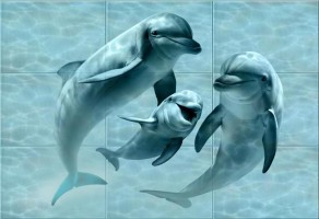 Панно Дельфины Лазурь 750х1050