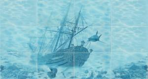Панно Корабль бирюзовый 750х700